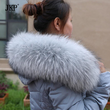Natural Real Raccoon Fur Collar Winter Women Warm Coat Genuine Fox Fur Collar Fashion Warm Raccoon Solid Collar Scarves(China)