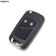 TEMREIPO 2 Buttons Replacement Folding Remote Control Key Blank for chevrolet epica lova spark remote flip key case fob