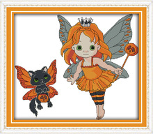 Joy Sunday cartoon style Halloween girl counted cross stitch stores online wholesale for kids sewing cross-stitching(China)
