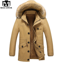 Plus Size 5XL Winter Jackets Mens Thick Warm Men Parkas Fur collar Cotton-Padded Men Military Jacket Casual Men Coat MJ388(China)