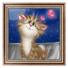 5D Diamond Embroidery Cute Cat Painting Cross Stitch DIY Craft Mosaic Home Decor 30cm*30cm -Y102