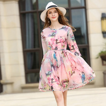 2017 summer dresses casual o neck china style pleated flower print new fashion rushed chiffon dress