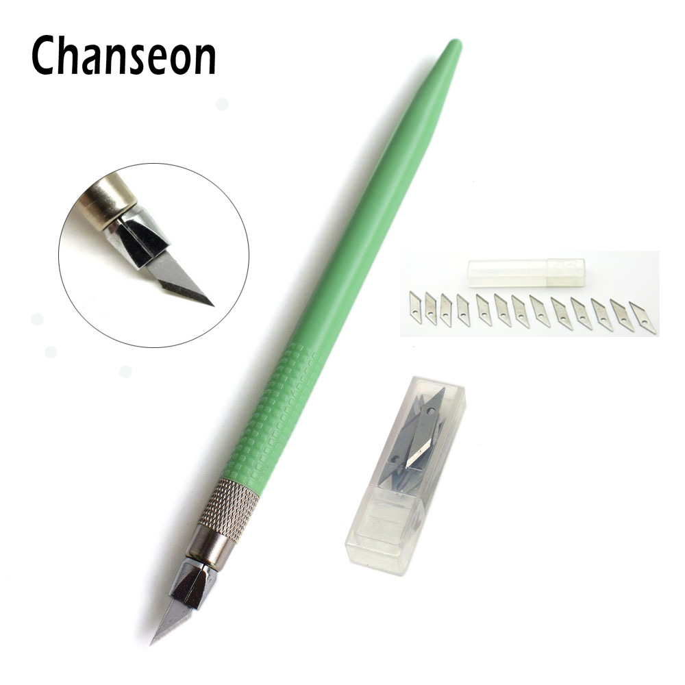 Craft pens to write on wood - Plastic Handle Hobby Knife Set Cutter Tools Crafts Scalpel Graver 12 Pcs Blade For Pcb Repair Mulit Pen Film Wood Carving Tool