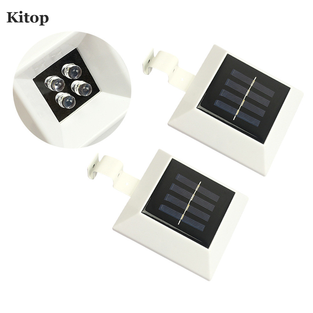 Kitop Square Solar Led Light 4leds IP44 Waterproof ABS White Warm White Easy  Install Garden Fence Carridor Patio