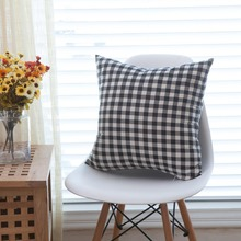 1-Piece Linen Cotton Red And Black Plaid Pillow Case Throw Pillowcase Square Modern Cushion Case 45x45cm 60x60cm