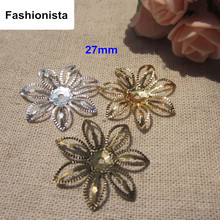 100pcs Open Design Metal Flowers Bead Cap,27mm Gold-color,Silver-color,Steel,Bronze Color,Metal Stamping Flowers,Jewel Findings