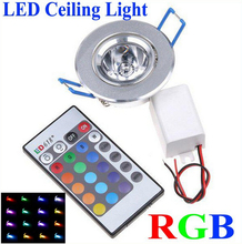 3W RGB downlight 1LED 270LM 85V-265V TH04 spot led ceiling 3w RGB recessed lighting for the house decoration + 50pc + Discount