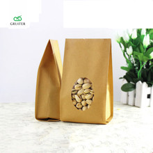 Custom Logo Durable Kraft Paper Bags Bottom Gussets Open Top Pouch Heavy-Duty Food Bags W/Tear Notch Oval Window 100pcs 10x28cm