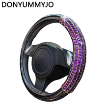 Fashion Leather Steering Wheel Cover Cases PU with Crystal Steering-Wheel Covers For Car Interior Accessories Women and Girls