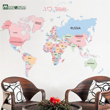 Maruoxuan New Arrival Colorful Letter World Map Wall Stickers Removable Art Decals Living Room Office Decoration Kids Decal