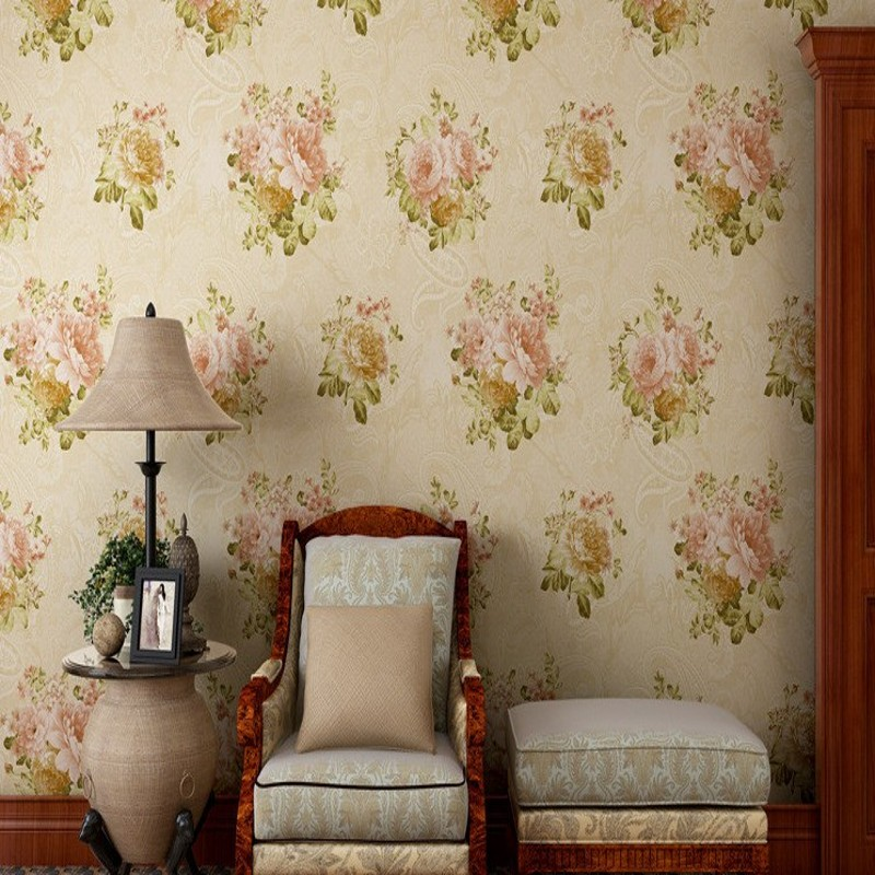 Free Shipping colorful beautiful American garden flower wallpaper Guest Room Hotel Restaurant balcony background wallpaper<br>