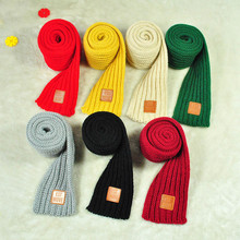 Lovely Autumn Winter Boys Girls Baby Kid Solid Scarf Warm Knitted Scarves Children Winter Neck Warmer Knitting Wool Scarf