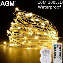 AGM LED String Light Garland Fairy Lights Silver Copper Wire Novelty Light 10M Battery For Christmas Wedding Festival Decoration
