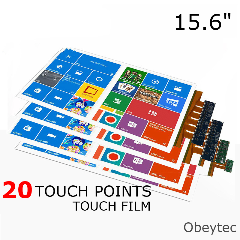"Obeytec 15.6"" Interactive Touch Screen Foil Film, 20 Touch Points, Transparent, USB port, Support 3-12 mm Thickness Glass Cover"