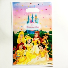 10pcs Cartoon snow White 6 Princess Castle theme girl Gift Bags kids birthday party wedding Decoration Candy Dessert gift bag