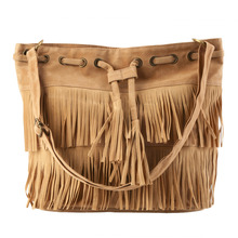 Retro Style Women Messenger High capacity bags Tassel Shoulder Crossbody Bags for Faux Suede Handbags Drawstring Bucket Bag/gift