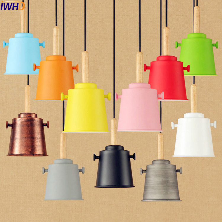 IWHD Wood Colorful LED Pendant Lights Fixtures American Country Loft Style Industrial Lighting Lamparas Vintage Lamp<br>