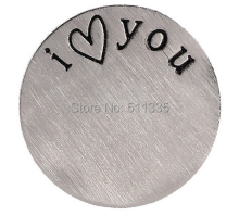 Factory Price ! 20PCS/lot Charms I love You Stainless Steel Floating Locket Window Plates DIY Jewelry Findings