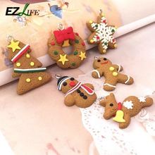Polymer clay Christmas tree Xmax snowflake gingerbread man Christmas snowman deer set of Christmas ornaments accessories  CT0285