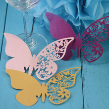 12pcs/lot Butterfly Place Escort Wine Glass Cup Paper Card for Wedding Party Home Decorations White Blue Pink Purple Name Cards(China)