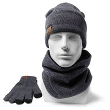 Men Winter Beanies Scarves Gloves 3 Pieces 1 set Cotton Knitted Women's fashion Winter Accessories Thermal Hat Scarf Set(China)