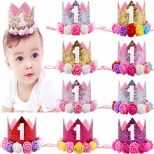 CUTIEPIE Fashion Mini Felt Glitter Crown with Flower Headband For Girls Gifts 1st Birthday Party DIY Hair Decorative Accessories
