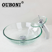 OUBONI Tempered Glass Sinks Polish Chrome Bathroom Sink Washbasin Ceramic Lavatory Bath Sink Combine Set Torneira Mixer Faucet(China)