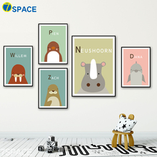 7-Space Nordic Style Poster Marine Animals Seal Dolphin Penguin Wall Art Print Canvas Painting Wall Pictures Pop Art Kids Decor