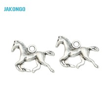 JAKONGO Antique Silver Plated Horse Charms Pendants for Jewelry Making Bracelet Jewelry Findings DIY Handmade Craft 15x20mm
