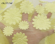 CMCYILING Yellow Chrysanthemum Embroidered Lace Fabric Organza Fabrics For Dress Skirt Textile Sewing Materiel Tissu(China)