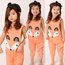 Cute Orange Princess Baby Girl Jumpsuit Rompers Fox Playsuit Outfits newborn baby clothes rompers 2017 New fashion