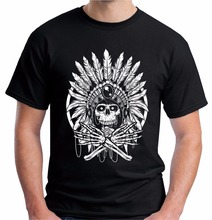 Impresionante camisetas gildan native indian skull headress altos hombre de espíritu rojo o-cuello de manga corta camiseta