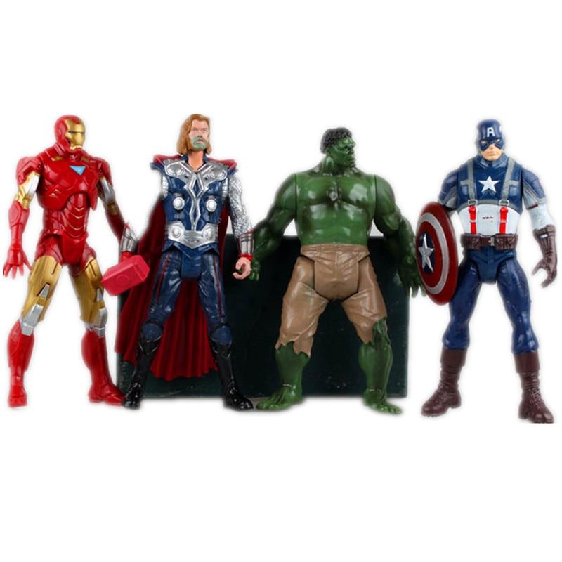 The Avengers Super Heroes Captain America Thor Hulk Iron Man PVC Action Figure Collection Model Toys Dolls 8 20CM 4pcs/set<br><br>Aliexpress
