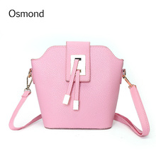 Osmond Women leather Shoulder Bag Bucket Handbag Cute Messenger Bag Famous Designer Clutch Shoulder Bags Bolsa Bag Black Pink Pu