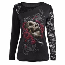 Round Neck Skeleton Head Long Sleeve 3D Printing Girl Butterfly Skull T-shirt Tops With Lace Sleeves Patchwork Women Tee Shirts(China)