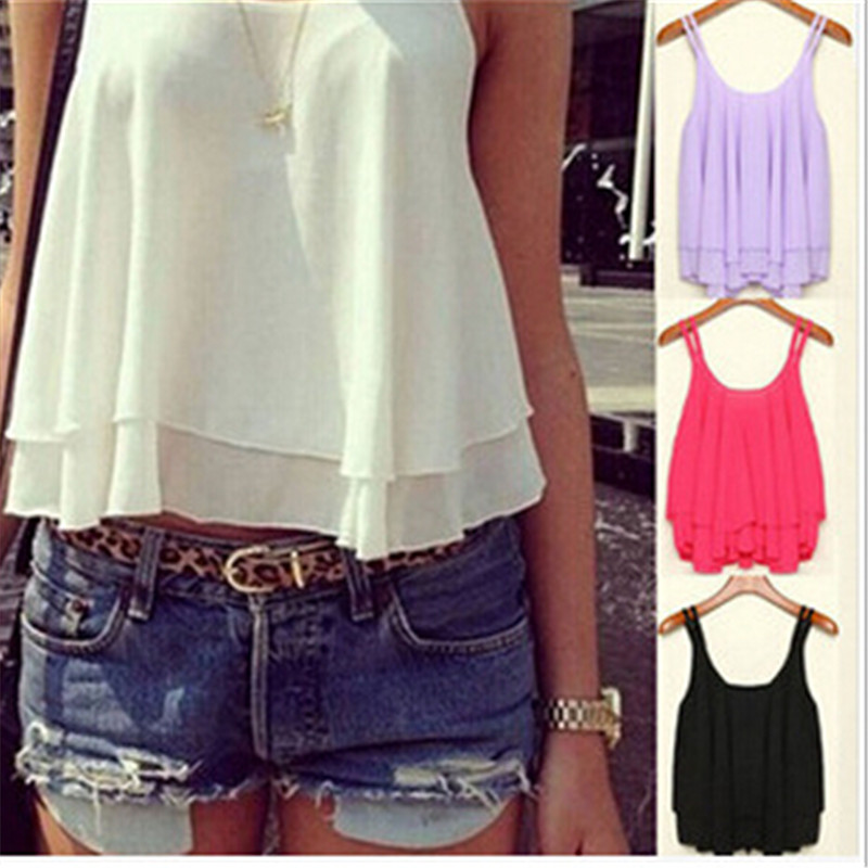 579256160639f New Fashion Women Double Ruffles Chiffon TankTops 4 Candy Color Cool Sexy  Summer Solid Fashion Ladies