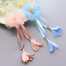 1Pair Fashion Cute Girls Chiffon Flower Long Ribbon Hair Clips Headbands Children Hair Ornament Hairpins Kids Hair Accessories(China)