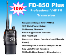 10W High Output Power FD-850 Plus Walkie Talkie 10Watt VHF 136-174MHz Professional FM Transceiver