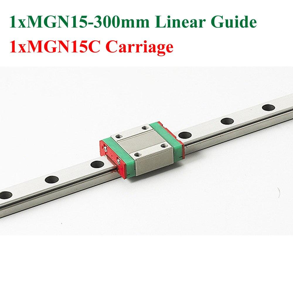 Mini MR15 Linear Guideway MGN15 15mm Linear Rail Length 300mm Slide Steel With MGN15C Blocks CNC<br>