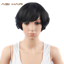 AISI HAIR Synthetic Black Short Wigs for Women  Heat Resistant  Curly Pixie Cut Hair With Bangs Hairstyle