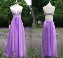 Gorgeous Real Photo Lavender Prom Dress Chiffon Lace Long Prom Dresses 2017 Open Back Evening Gowns Custom Made Party Dresses