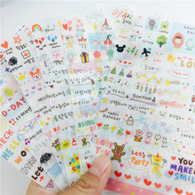 6sheets/lot Korea Life Painting Diary laptop stickers pink version of the simple life Decorative Notebook Calendar Memo sticker(China)