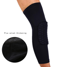 M/L/XL Honeycomb Pad Crashproof Antislip Basketball Football Long Leg Knee Sleeve Protector Ski/Snowboard Kneepad Sport Safety