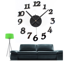 DIY Modern Designer Digital 3d Wall Clock Self Adhesive Wall Clock Sticker Large Wall Clock Kitchen Watch For Home Living Room(China)