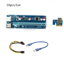 10Pcs/Lot 30cm 006C PCI-E PCIE Express Riser Card 1x to 16x SATA 6pin Power Supply with USB 3.0 Data Cable For BTC Miner Machine