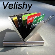 Velishy New Women Men Mini Wallet Pocket Case Box Money Bags Silver High quality Stainless Steel Men ID Credit Card Holder 1PCS