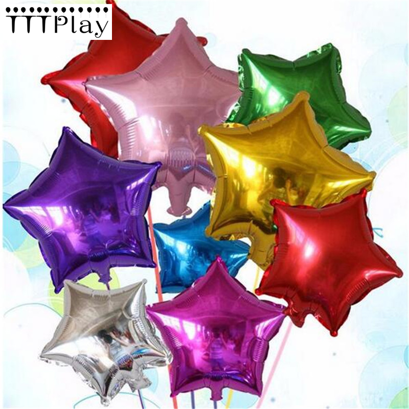 New 5pcs/lot 10inch Pentagram Aluminum Balloons Children Birthday Party Balloons Wedding Decoration Foil Balloons Toys Wholesale