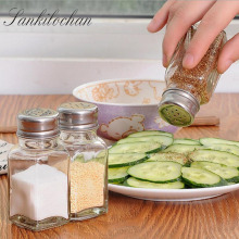 Transparent Spice jar seasoning jar kitchen condiment box Glass seal seasoning Box Storage Box Cruet Salt Pepper bottle AU030(China)