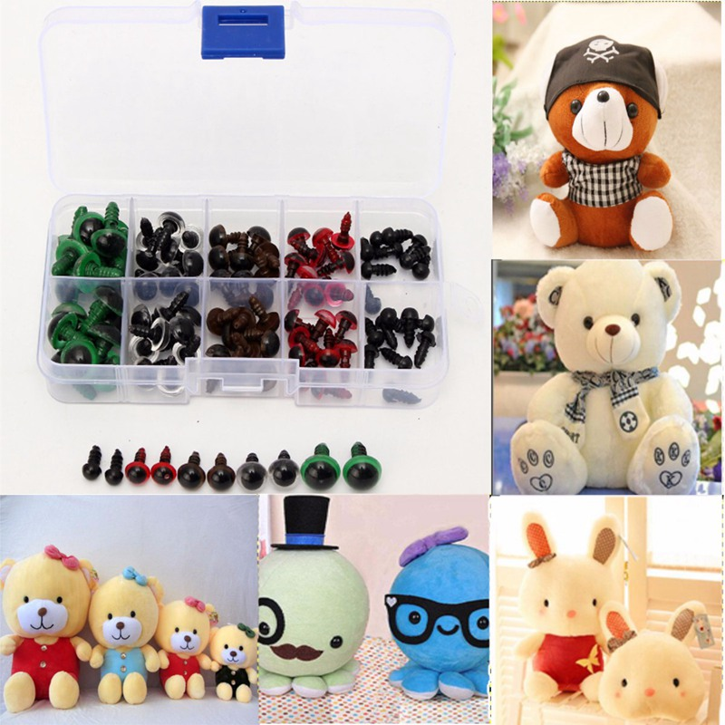 Hot 6-12mm Plastic Safety Eyes For Animal Puppet Crafts Teddy Bear Colorful Safety Eyes Doll Cartoon Animal Crafts 100pcs/bag(China)