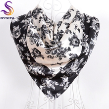 Autumn Winter Black White Large Square Scarves Tippet Europe America Brand Apparel Accessories Islam Women Headscarves 90*90cm(China)